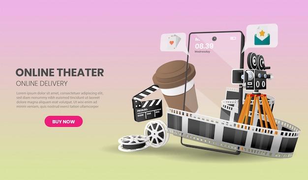 Иллюстрация концепции обслуживания кинотеатра онлайн, подходящей для применения баннера, иллюстрации.