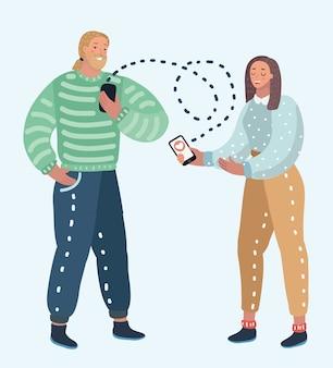 オンライン出会い系サービス、仮想コミュニケーション、インターネットでの愛の検索のイラスト。男性と女性のキャラクター+