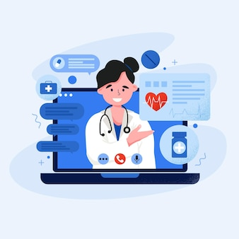 Иллюстрация онлайн доктора на видео звонок