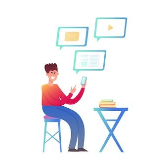Иллюстрация онлайн образования или бизнеса, изолированных на белом. компьютер с видео уроком и сидящий молодой человек - студент в модном неоновом стиле с использованием растений для плаката, веб-сайта, брошюры