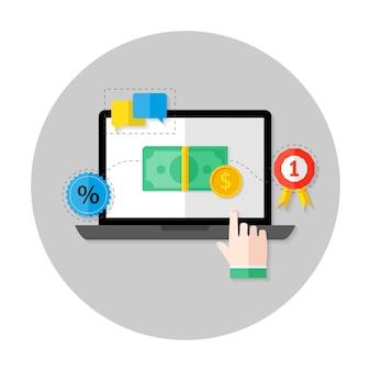 Иллюстрация плоского круга значка онлайн-платежей над светло-серым