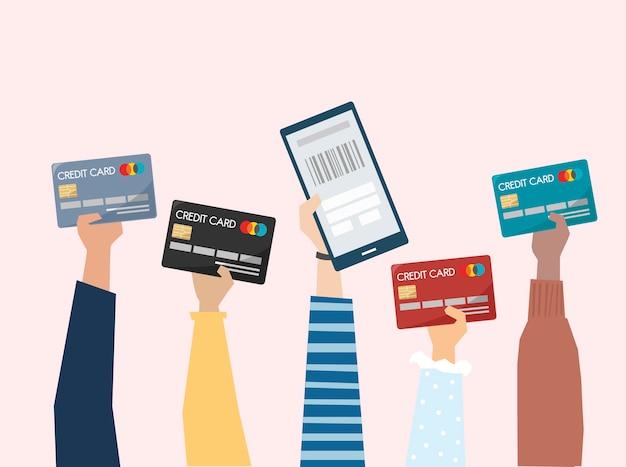 신용 카드로 온라인 결제의 그림