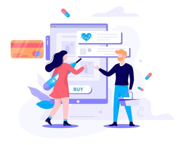 온라인 약국 개념의 그림입니다. 고객은 온라인으로 의약품 및 의약품을 주문하고 구매합니다. 전자 상거래 사이트.