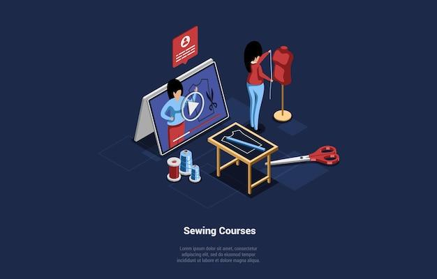 온라인 바느질 교육 과정의 그림입니다. 만화 3d 스타일의 먼 연구 아이소 메트릭 개념 구성