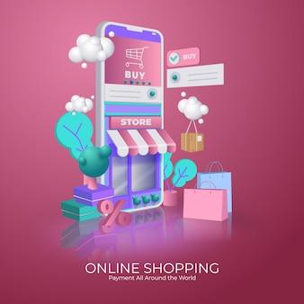 휴대 전화에 온라인 쇼핑 개념의 삽화입니다.