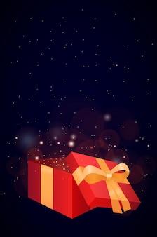 Иллюстрация открытой подарочной коробки с праздничными блестками.