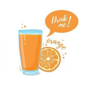 オレンジジュースのイラスト私を飲みます。搾りたてのオレンジジュースで健康生活に。 Premiumベクター