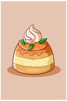 Иллюстрация апельсинового пудинга со сливками