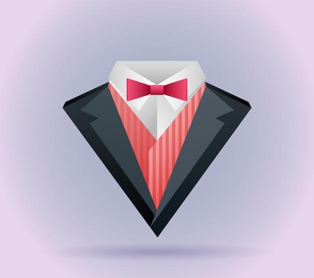 나비 넥타이와 통나무가 있는 종이 접기 남성복의 그림