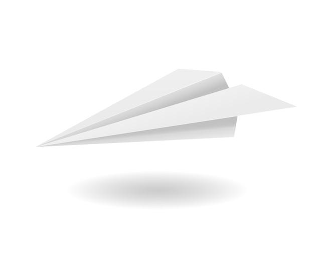 Иллюстрация оригами бумажный самолетик на белом фоне