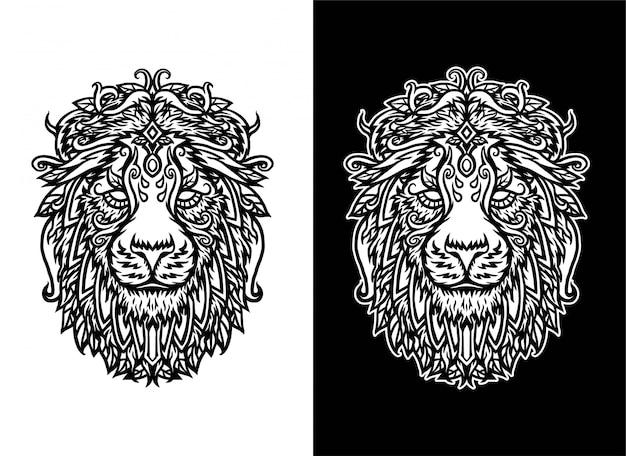 Иллюстрация декоративного льва, изолированного на темном и ярком фоне