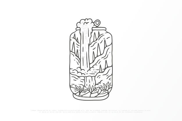 야외 Monoline 자연의 그림 프리미엄 벡터