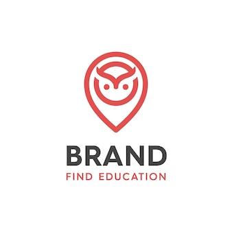 モダンなスタイルとロゴデザインのラインを少し加えた、教育アプリケーション用のフクロウデザインロゴとロケーションピンのイラスト