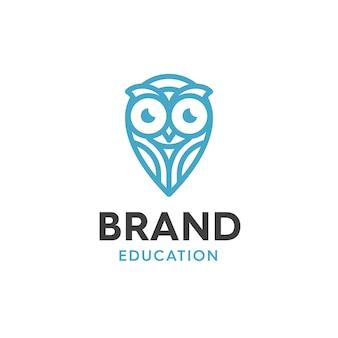 モダンなスタイルとロゴデザインラインのタッチで、教育のためのフクロウデザインロゴのイラスト