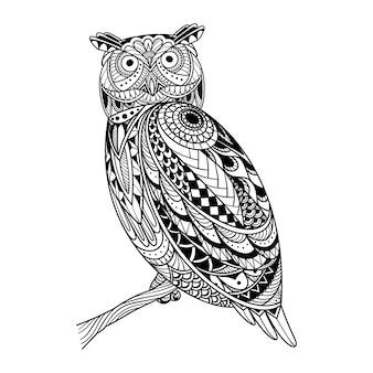 フクロウのゼンタングルのイラスト
