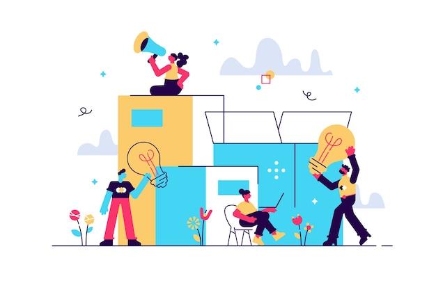전구 비즈니스 개념의 형태로 포장 아이디어의 그림