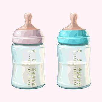 Иллюстрация пары прозрачных реалистичных детских бутылочек, наполовину заполненных молоком, изолированных на белом фоне