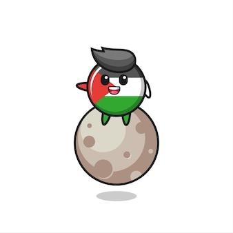 달에 앉아 있는 팔레스타인 국기 배지 만화의 삽화, 티셔츠, 스티커, 로고 요소를 위한 귀여운 스타일 디자인