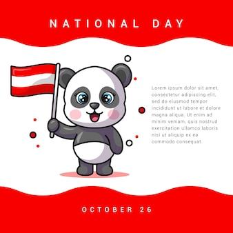 建国記念日のためのオーストリアの旗を保持しているパンダのイラスト