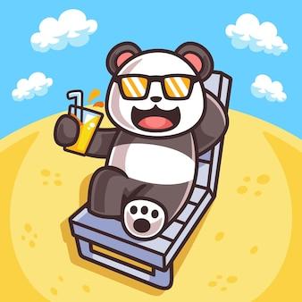 Иллюстрация панды загорать в летний сезон
