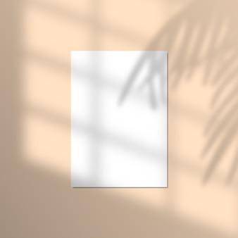 リアルなトロピカルシャドウオーバーレイ効果のある紙のイラスト。