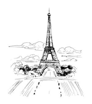エッフェル塔とパリのイラスト。手描きのインクスケッチ。