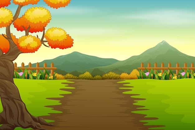 秋の風景の公園の道路のイラスト