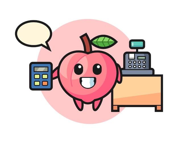 Иллюстрация персикового персонажа в качестве кассира, милый дизайн стиля для футболки