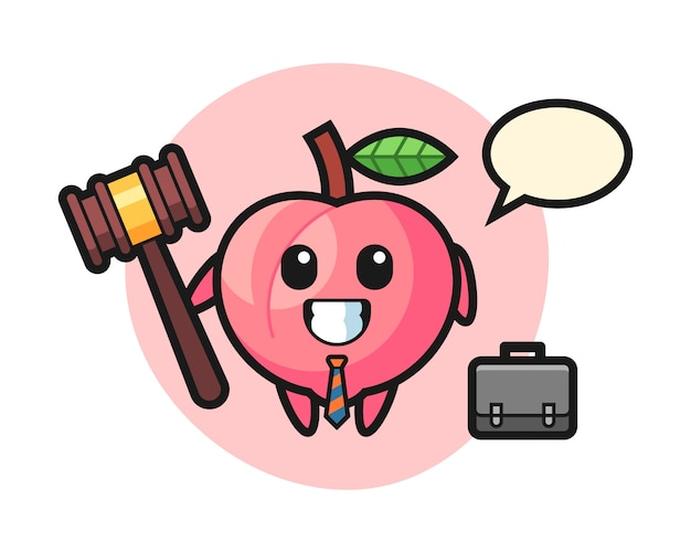 弁護士としての桃のマスコット、tシャツのかわいいスタイルデザインのイラスト