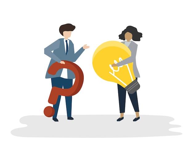 사람들이 아바타 사업 계획 개념의 삽화