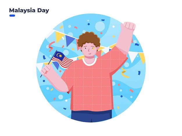 9월 16일 말레이시아의 날 또는 말레이시아 연방의 날을 기념하는 사람들의 그림