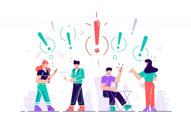 Иллюстрация общения людей в поисках идей. решение проблем. использование в веб-проектах и приложениях. плоский стиль иллюстрации для веб-страницы, социальные медиа, документы, открытки.