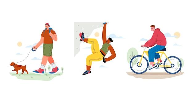 Иллюстрация людей, занимающихся активным отдыхом