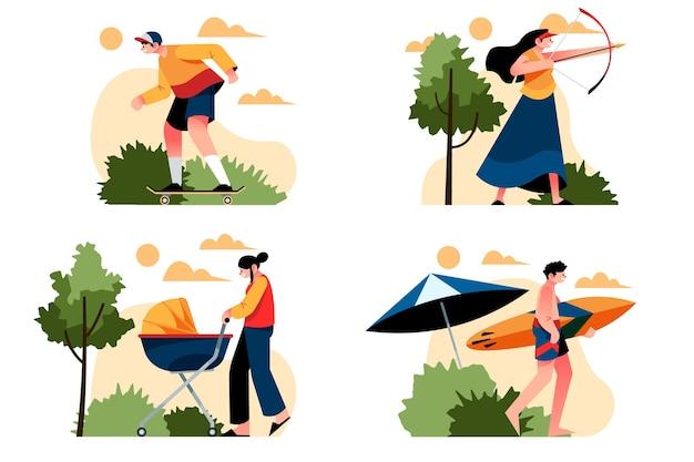 야외 활동을하는 사람들의 그림