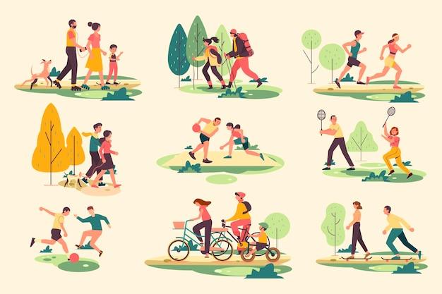 野外活動をしている人々のイラスト