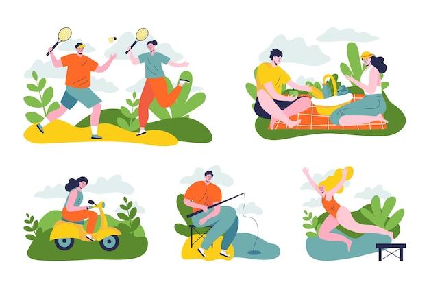 야외 활동을하는 사람들의 그림 프리미엄 벡터