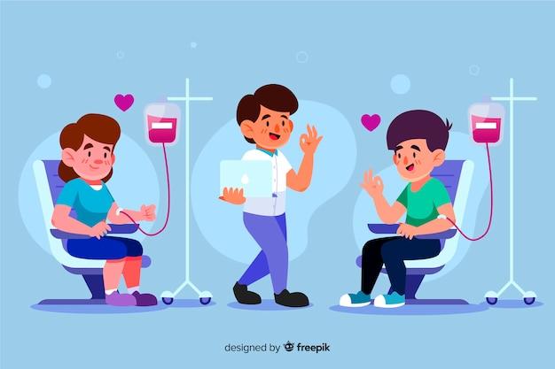 血を寄付する人々のイラスト