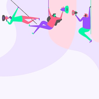 Иллюстрация людей, висящих на потолке с мегафонами, объявляющих новую линию команды