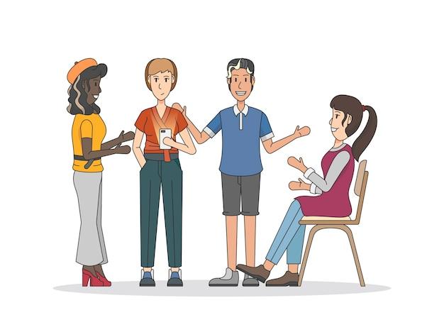 Иллюстрация людей, имеющих обсуждение