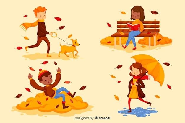 가을 공원에서 사람들의 그림