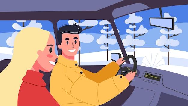 그들의 차 안에 사람들의 그림입니다. 그의 아내와 함께 차를 운전하는 남성 캐릭터. 가족 여행, 남자와 여자.