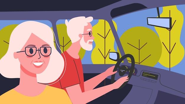 그들의 차 안에 사람들의 그림입니다. 그의 아내와 함께 차를 운전하는 남성 캐릭터. 가족 여행, 노인과 여성.