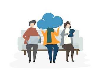Illustration of people sharing on the cloud