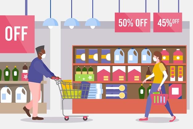 Иллюстрация людей, делающих покупки в супермаркете концепции