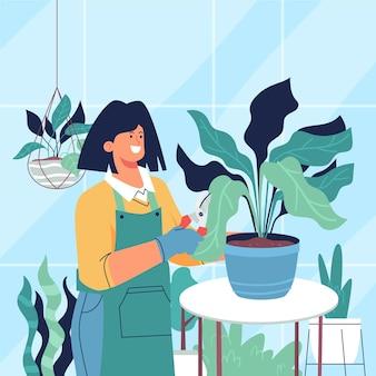 植物の世話をする人たちのイラスト