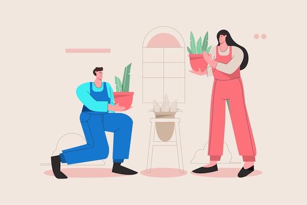 식물을 돌보는 사람들의 그림