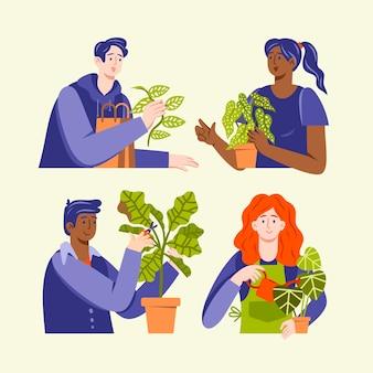 植物の世話をしている人のイラスト