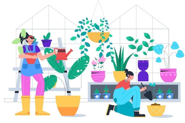Иллюстрация людей, ухаживающих за растениями