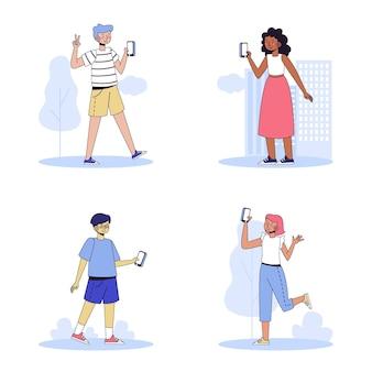 スマートフォンで写真を撮る人のイラスト