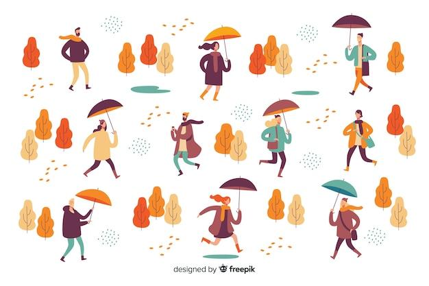가을에 걷는 사람들의 그림